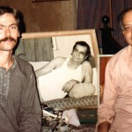 Steve Davis and Abhi Bhattacharya, at Abhi's flat in Bombay, February 1993, with photos of Dadaji. Awareness and Alignment